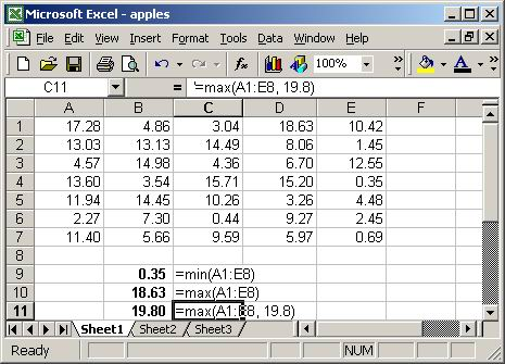 minimum maximum in Excel