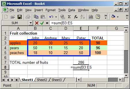 selecting cells in Excel