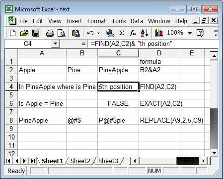 text in Excel